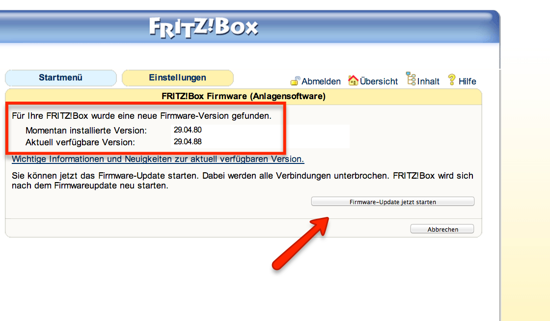 Firmware Update FritzBox Installieren
