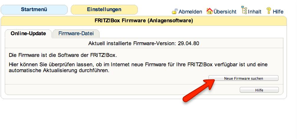 FritzBox Firmware Update